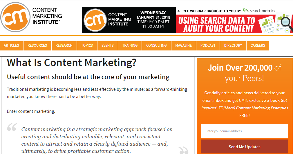 Content marketing Institute blog