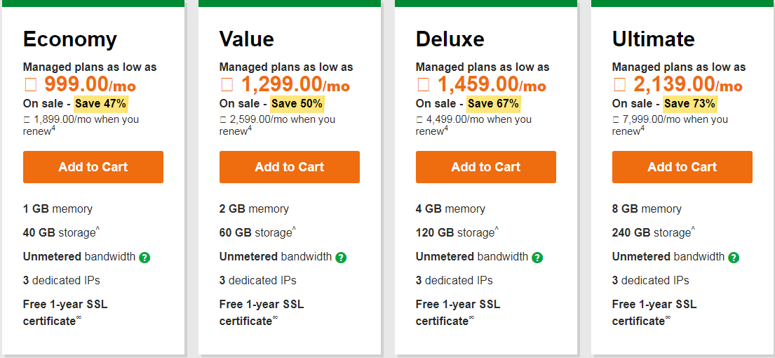 GoDaddy Linux Hosting Plans: