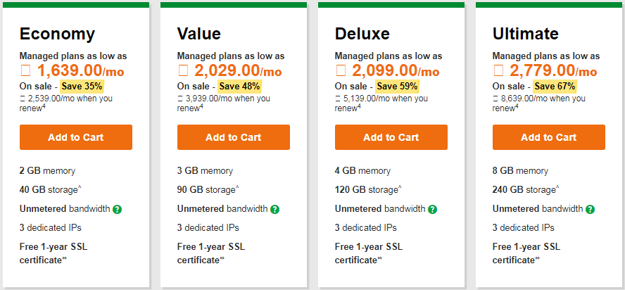 GoDaddy  Windows hosting plans