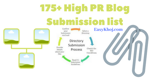 175+ High PR Blog Submission Sites List 2019