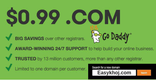 godaddy 99 cent domain, 99 cent domain Godaddy