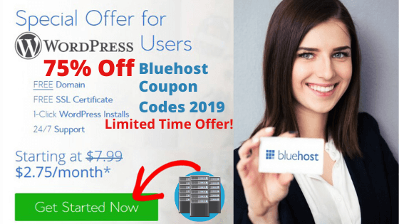 Bluehost Coupons – Up to 85% OFF Hosting + ( Free Domain + SSL)