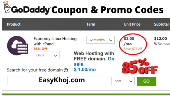 Godaddy Promo Code India – Get 85% Off domain, Hosting, SSL